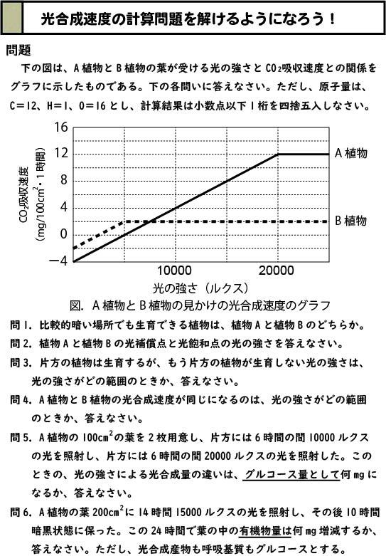 光合成速度の計算問題のスライド