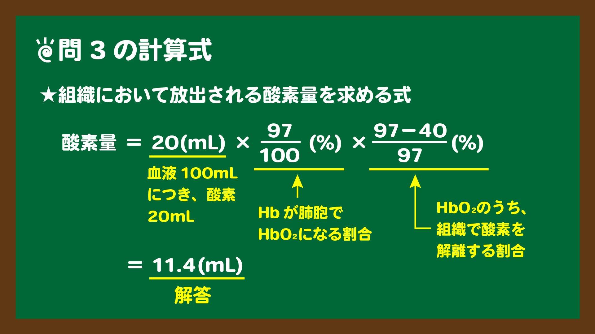 スライド6:組織において放出される酸素量を求める計算式