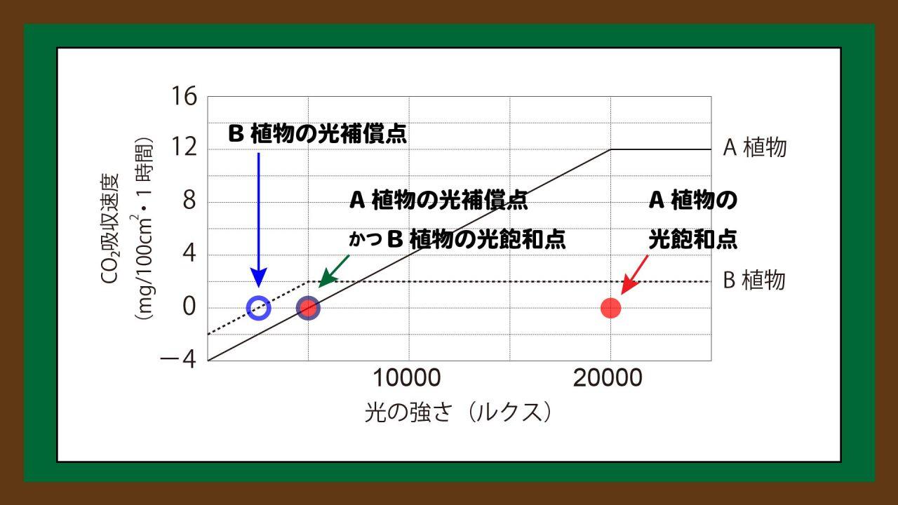 スライド4:光補償点と光飽和点の読み取り方(生物版の記事を引用)