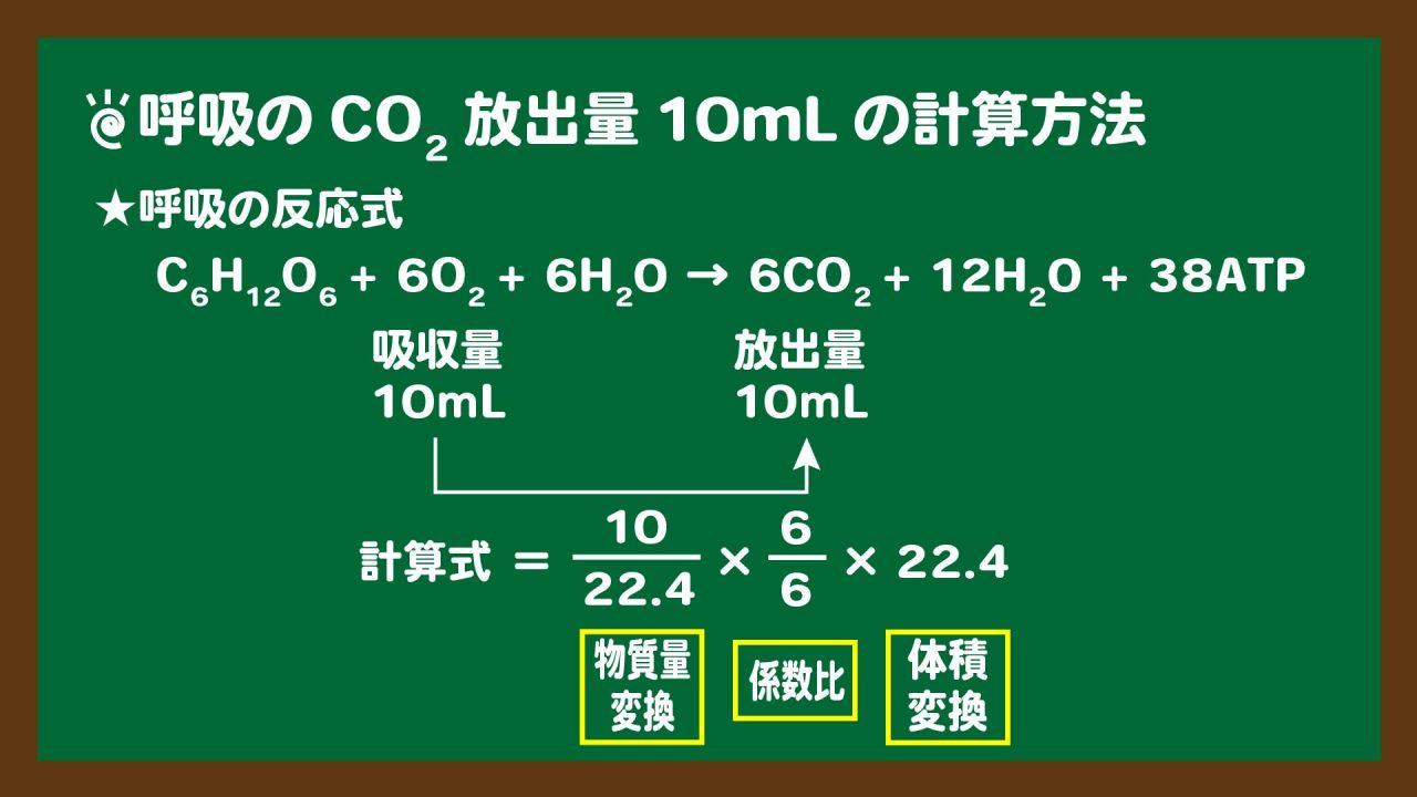 スライド6:問5条件B呼吸の二酸化炭素放出量10mLの計算方法